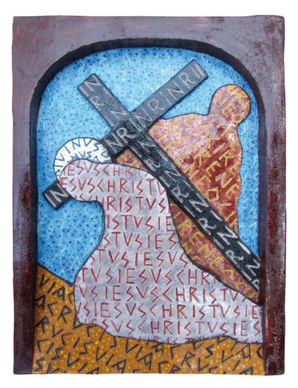 """""""Gesù e aiutato da Simone di Cirene"""" Argilla"""