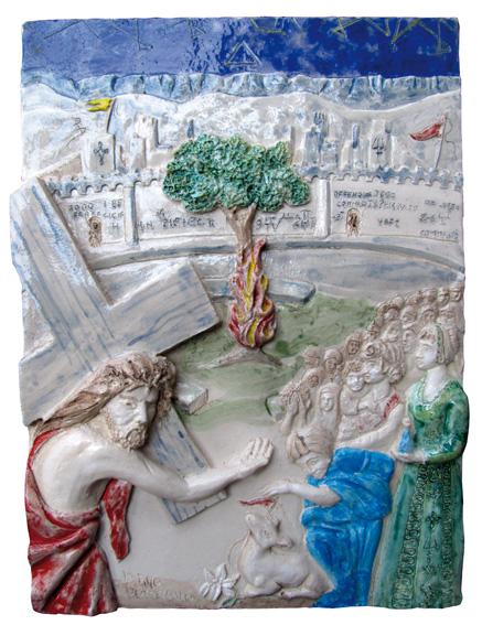 """""""Gesù incontra le donne di Gerusalemme"""" Argilla"""