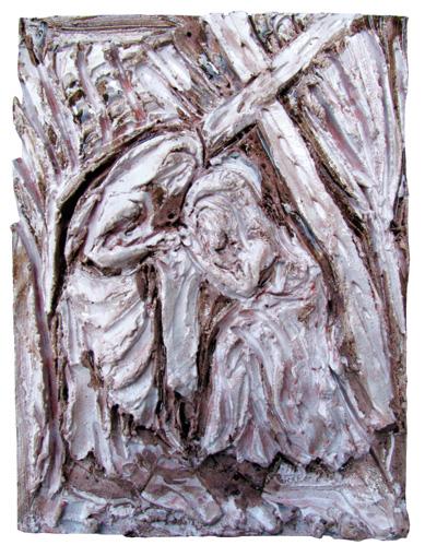 """""""La Veronica asciuga il volto di Gesù"""" Argilla rossa"""